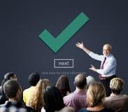 Vérifiez concept d'élément correct d'icône le prochain Images libres de droits
