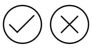 Vérifiez et croisez Mark Thin Line Vector Icon Image libre de droits