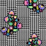 Vérifiez le modèle sans couture de mode avec des fleurs de broderie illustration libre de droits