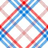 Vérifiez le textile blanc avec le modèle sans couture de rayures rouges et bleues Photos stock