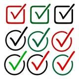 Vérifiez Mark Icons Drawn avec le stylo de feutre Images stock