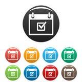Vérifiez rencontrer la couleur réglée d'icônes de date illustration stock