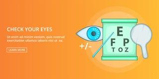 Vérifiez votre bannière de yeux horizontale, style de bande dessinée illustration de vecteur