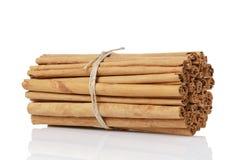 Véritables bâtons de cannelle attachés de la Ceylan, d'isolement dessus Photographie stock libre de droits