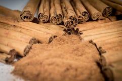 Véritables bâtons et poudre de cannelle de la Ceylan Image stock
