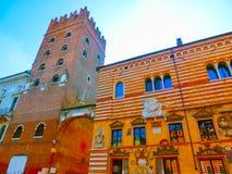Vérone, Italie - 22 septembre 2014 : Erbe de delle de Piazza dans la rue de Vérone, destination de touristes en région de Vénétie Image stock