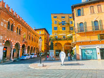 Vérone, Italie - 22 septembre 2014 : Le mur de château de Scaligeri dans la rue de Vérone, destination de touristes en région de  Photo libre de droits