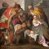 Vérone - scène de nativité dans l'église de San Bernardino Image libre de droits