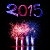 Véspera de Ano Novo 2015 com fogos-de-artifício Fotografia de Stock