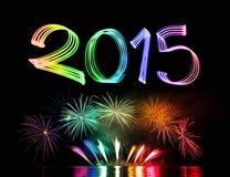 Véspera de Ano Novo 2015 com fogos-de-artifício Foto de Stock