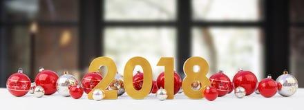 a véspera de ano 2018 novo com quinquilharias do Natal alinhou a rendição 3D Foto de Stock