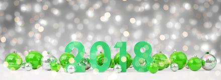 a véspera de ano 2018 novo com quinquilharias do Natal alinhou a rendição 3D Fotos de Stock