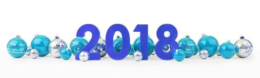 a véspera de ano 2018 novo com quinquilharias do Natal alinhou a rendição 3D Fotografia de Stock