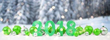 a véspera de ano 2018 novo com quinquilharias do Natal alinhou a rendição 3D ilustração do vetor