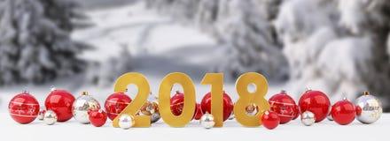 a véspera de ano 2018 novo com quinquilharias do Natal alinhou a rendição 3D ilustração stock