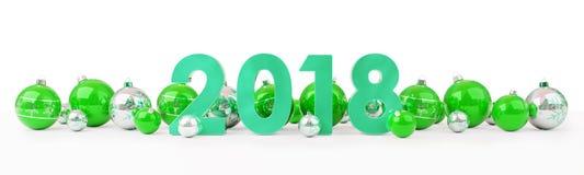 a véspera de ano 2018 novo com quinquilharias do Natal alinhou a rendição 3D Imagens de Stock Royalty Free