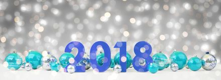 a véspera de ano 2018 novo com quinquilharias do Natal alinhou a rendição 3D Fotografia de Stock Royalty Free