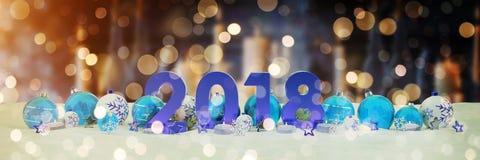 véspera de ano 2018 novo com quinquilharias do Natal e velas do renderin de 3D Fotografia de Stock Royalty Free