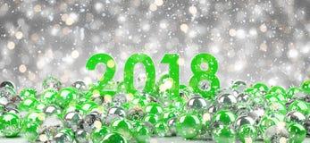 véspera de ano 2018 novo com rendição das quinquilharias 3D do Natal Fotos de Stock Royalty Free