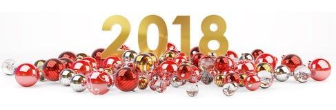 véspera de ano 2018 novo com rendição das quinquilharias 3D do Natal Fotos de Stock
