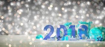 véspera de ano 2018 novo com rendição das quinquilharias e dos presentes 3D do Natal Fotos de Stock