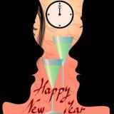 Véspera de Ano Novo e mensagem cheering dos pares ilustração stock