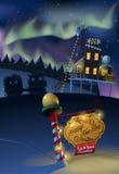 A véspera de ano novo na estação polar da Antártica e a Aurora iluminam-se no fundo Foto de Stock Royalty Free