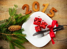 Véspera de Ano Novo 2015 no vermelho Imagens de Stock Royalty Free