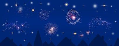 Véspera de Ano Novo sobre a cidade ilustração do vetor