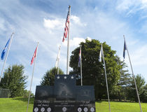 Vétérans commémoratifs avec des drapeaux Photographie stock libre de droits