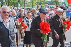 Vétérans non identifiés pendant la célébration de Victory Day. MINUTE Images stock