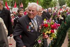 Vétérans ukrainiens du jour patriotique splendide de victoire de guerre Images libres de droits