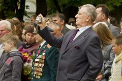Vétérans ukrainiens du jour patriotique splendide de victoire de guerre Photos stock