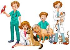 Vétérinaire Doctors avec des chats et des chiens illustration libre de droits