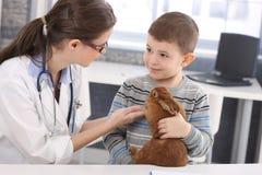 Vétérinaire et gosse discutant la demande de règlement de lapin Image stock