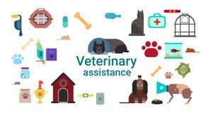 Vétérinaire Medicine Icons Clinic d'aide vétérinaire Images stock