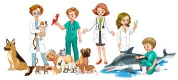 Vétérinaires et beaucoup d'animaux Photo stock