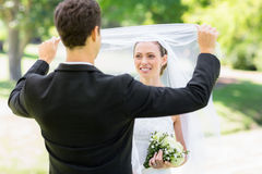 Véu de levantamento do noivo loving da noiva Imagem de Stock