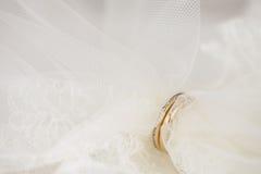 Véu do casamento passado através dos anéis dourados imagens de stock royalty free