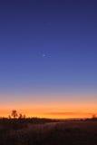 Vênus, Júpiter e lua Fotos de Stock