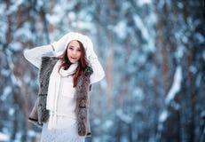 Vêtement s'usant de l'hiver de jeune beau femme Photographie stock