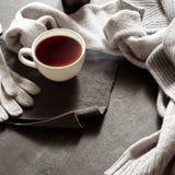 Vêtements chauds et une tasse de thé le jour d'automne Photographie stock libre de droits
