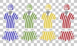 Vêtements d'été de Colorfull réglés : polo, casquette de baseball et couleurs noires et blanches de shorts Illustration de dessin Illustration Libre de Droits