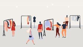 Vêtements d'achats de personnes dans le concept plat de vecteur de magasin illustration libre de droits