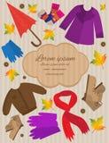 Vêtements d'automne de carte Image stock