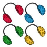 Vêtements d'hiver bouche-oreilles Pelucheux lumineux réglé fait de réchauffeurs d'oreille de fourrure illustration de vecteur