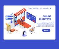 V?tements de achat de personnes en ligne du concept isom?trique d'illustration de site Web illustration libre de droits