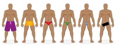 Vêtements de bain baignant des hommes de code vestimentaire nus Photo libre de droits