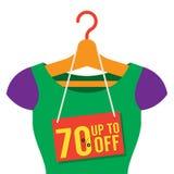 b80edd3bc4e27 Vêtements de femme sur le cintre avec l'étiquette de vente illustration  stock