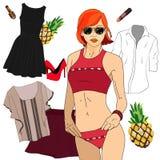 Vêtements de fille pour le ressort et l'été illustration stock